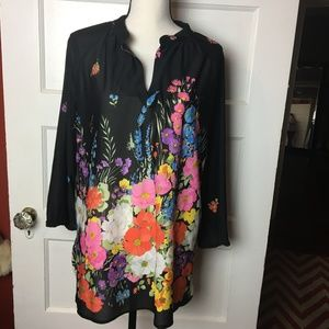 Vintage Floral Swing Top Blouse Tunic